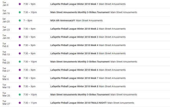 LPL winter 2018 season schedule